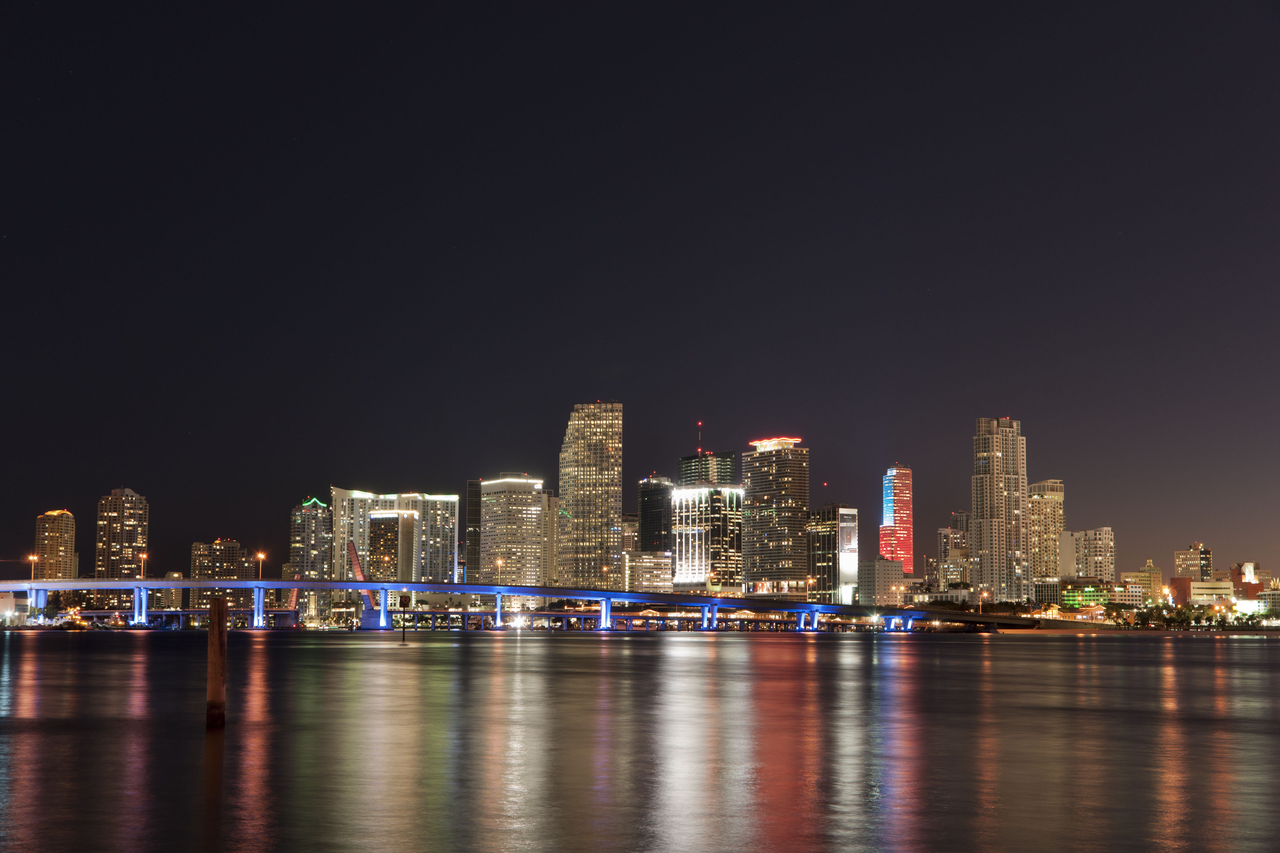Nightime shot of downtown Miami